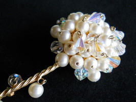 Kramer Long Stemmed Flower Brooch, Faux Pearl & Crystal Dangle, Vintage ... - $45.00