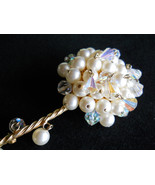 Kramer Long Stemmed Flower Brooch, Faux Pearl & Crystal Dangle, Vintage ... - $45.00