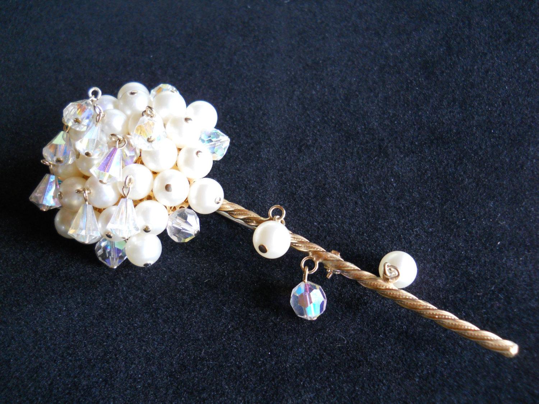 Kramer Long Stemmed Flower Brooch, Faux Pearl & Crystal Dangle, Vintage Signed