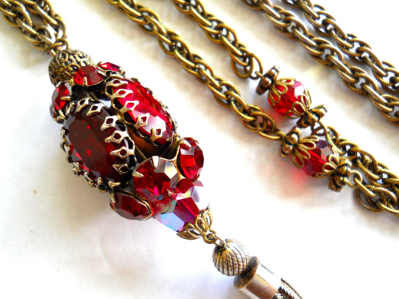 Red Rhinestone Pendant Necklace Tassel Gold Tone Vintage