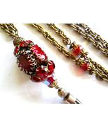 Red Rhinestone Pendant Necklace Tassel Gold Tone Vintage - $61.25