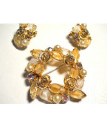 Weiss Givre Glass, Rhinestone and Roses Wreath Brooch & Earring Set Vint... - $65.00