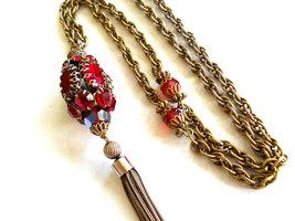 Red Rhinestone Pendant Necklace Tassel Gold Tone Vintage image 3