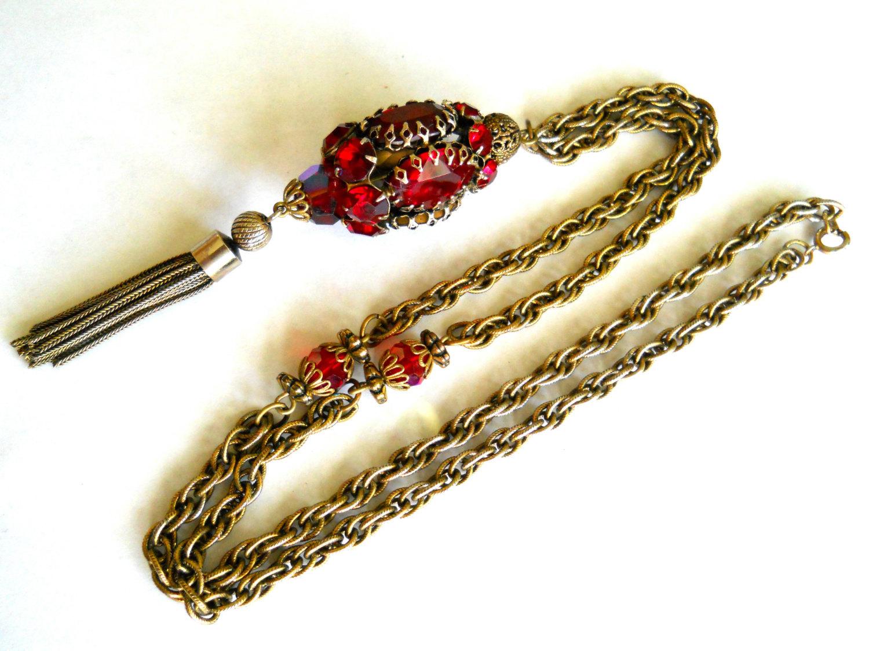 Red Rhinestone Pendant Necklace Tassel Gold Tone Vintage image 4
