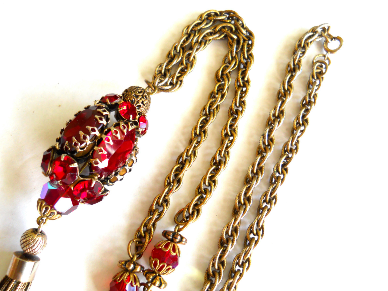 Red Rhinestone Pendant Necklace Tassel Gold Tone Vintage image 5