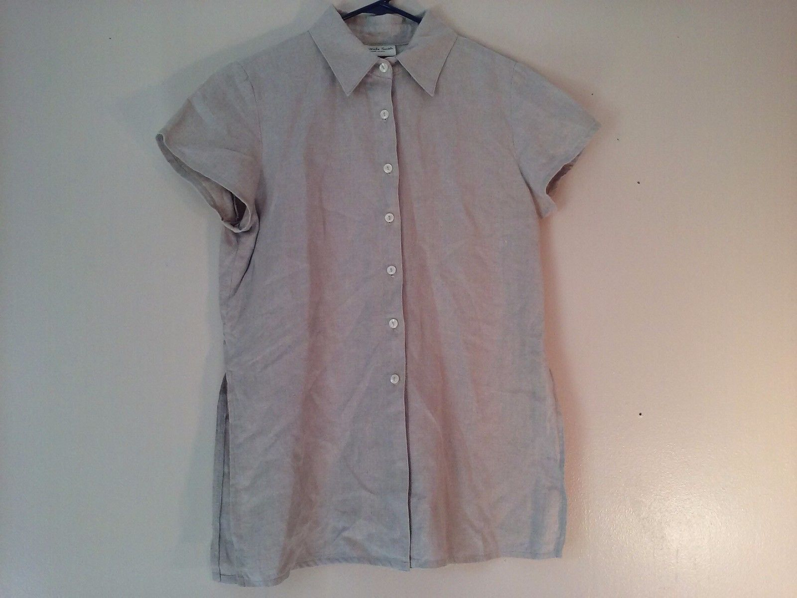 Great Condition Amanda Smith Pure 100% Linen Medium Beige Button-Up Collar Shirt