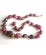 Vintage Glass Bead Choker Necklace Filigree Caps Pink Crackle Glass and ... - $56.25