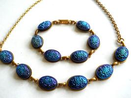 Blue Mosaic Cabochon Necklace & Earring Set Demi Vintage - $45.00