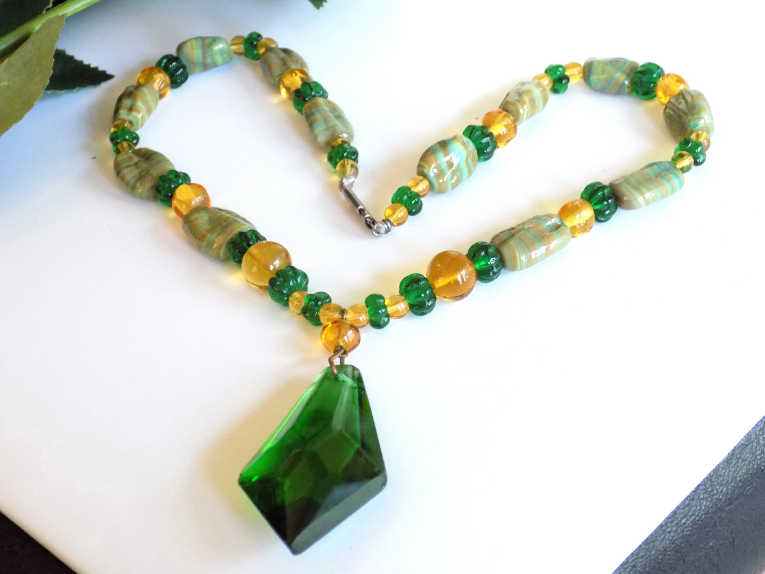 Vintage Glass Beaded Necklace Green & Gold Glass Beads Striped Beads Focal Glass