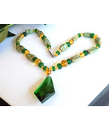 Vintage Glass Beaded Necklace Green & Gold Glass Beads Striped Beads Foc... - $45.00