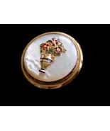 Vintage Brooch Pin Mother of Pearl Enamel Red Flowers Green Leaves Gold ... - $24.00