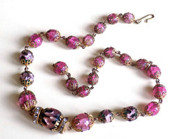 Vintage Glass Bead Choker Necklace Filigree Caps Pink Crackle Glass and Foil Inf image 4