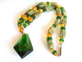 Vintage Glass Beaded Necklace Green & Gold Glass Beads Striped Beads Focal Glass image 4