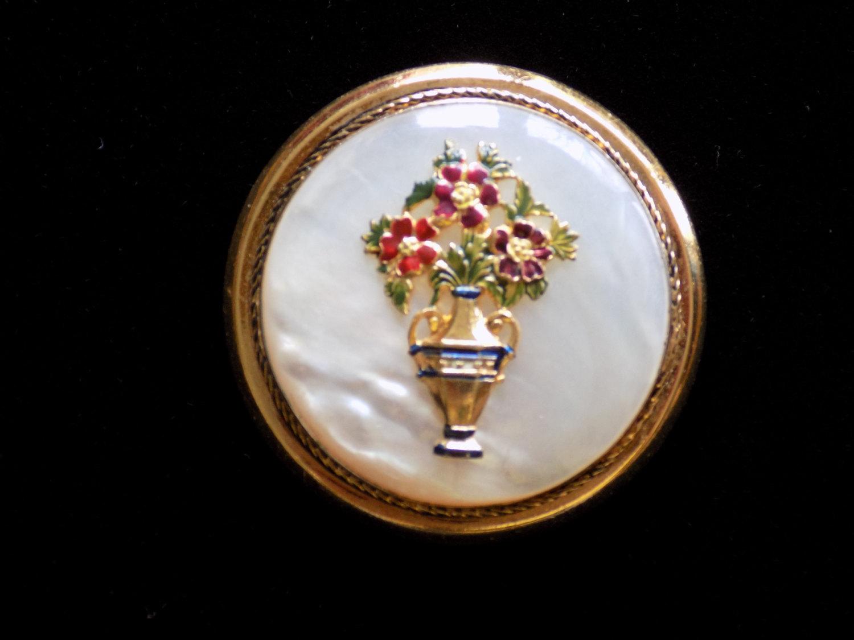 Vintage Brooch Pin Mother of Pearl Enamel Red Flowers Green Leaves Gold Tone Rou