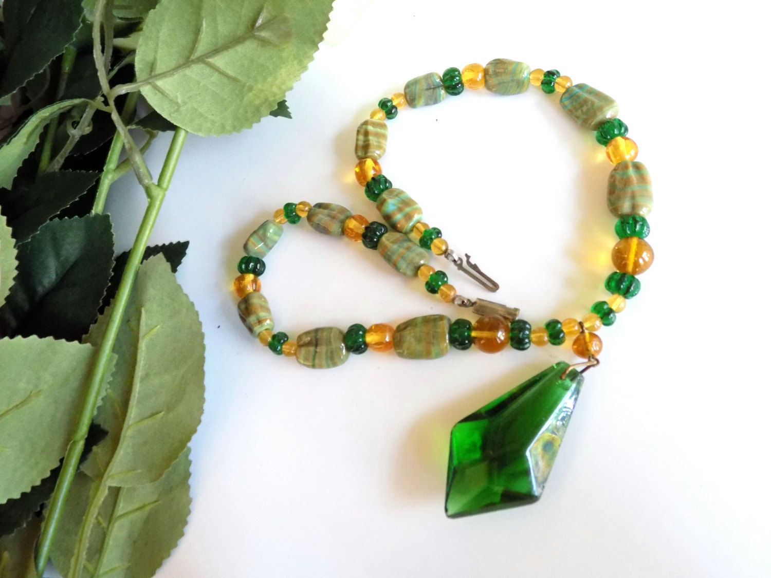 Vintage Glass Beaded Necklace Green & Gold Glass Beads Striped Beads Focal Glass image 5