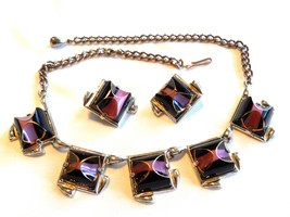 Deep Purple and Mauve Necklace and Earring Set Vintage - $42.00