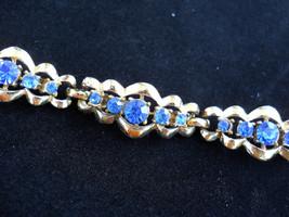 Coro Blue Rhinestone Link Style Bracelet, Vintage Signed - $30.00