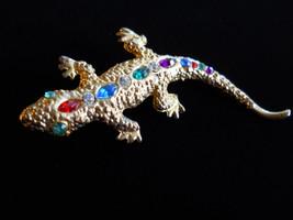 Rhinestone Salamander Brooch Pin Vintage Gold Tone - $15.00