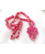 Vintage Necklace Carved Pink Agate Stone Mask Pendant Aztek Incan Tribal... - $42.50