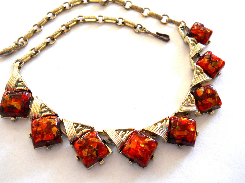 Coro Confetti Lucite Necklace Orange Gold Vintage Signed