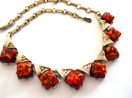 Coro Confetti Lucite Necklace Orange Gold Vintage Signed - $35.00