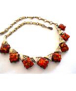 Coro Confetti Lucite Necklace Orange Gold Vintage Signed - $35.00
