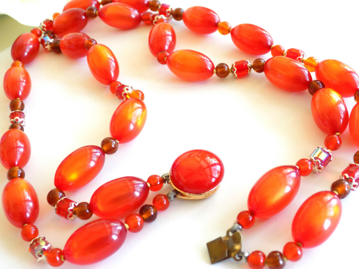 Vintage Orange Beaded Double Strand Necklace Moonglow Lucite and Faceted Beads S