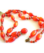 Vintage Orange Beaded Double Strand Necklace Moonglow Lucite and Faceted... - $18.00