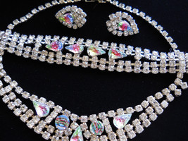 Glittering Rhinestone Necklace, Bracelet & Earring Set Parure Vintage - $85.00