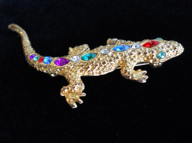 Rhinestone Salamander Brooch Pin Vintage Gold Tone