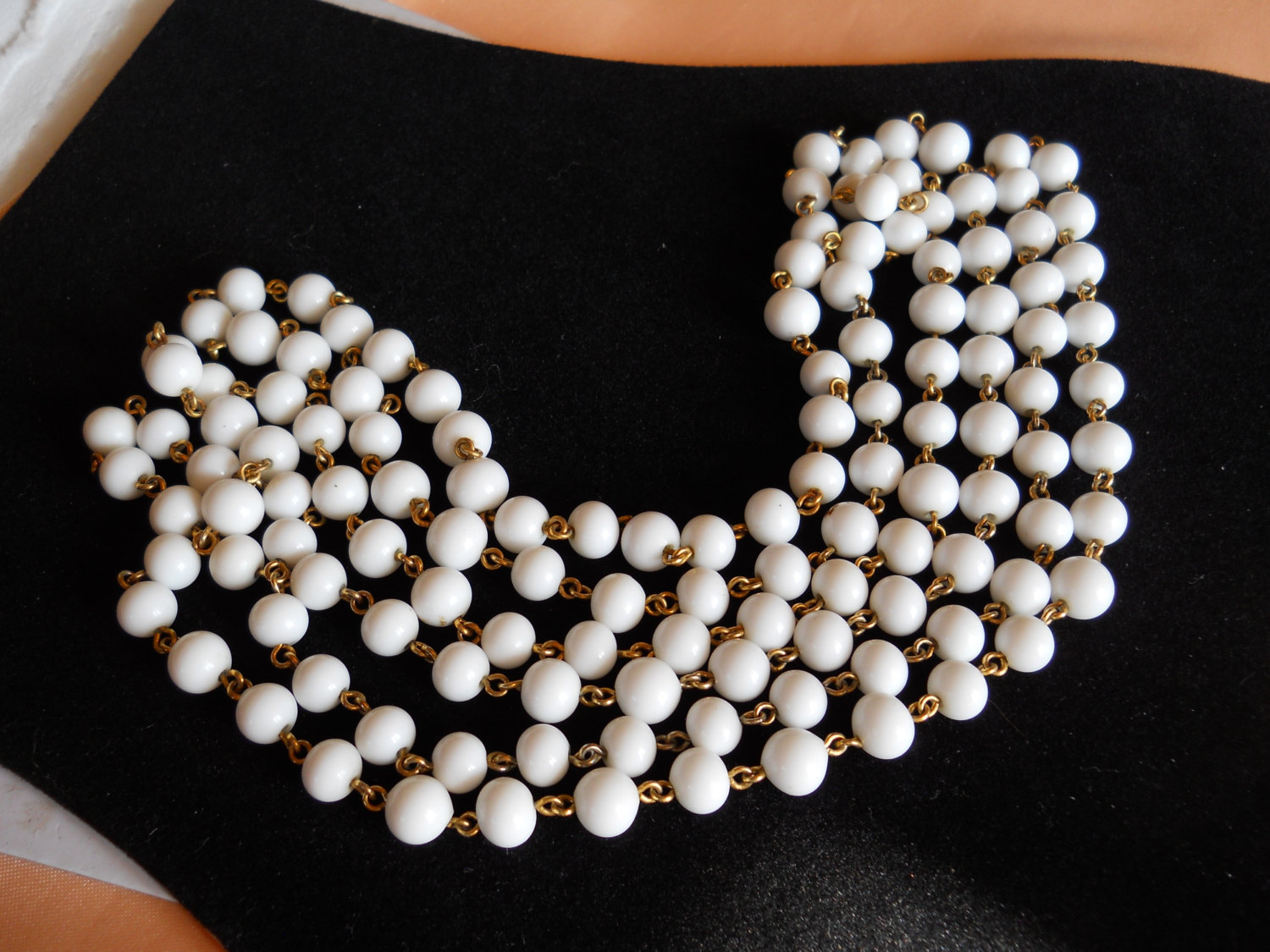 Endless Strand Necklace Milk Glass Bead and Gold Tone Metal Vintage