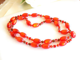 Vintage Orange Beaded Double Strand Necklace Moonglow Lucite and Faceted Beads S image 2