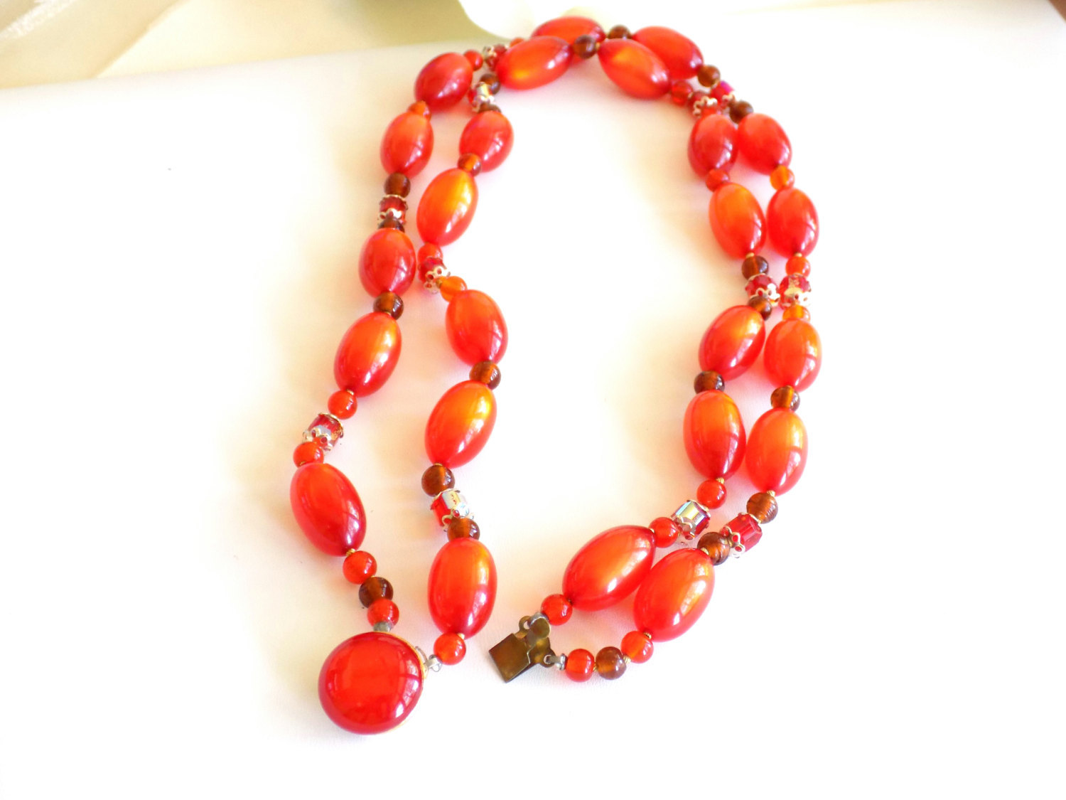 Vintage Orange Beaded Double Strand Necklace Moonglow Lucite and Faceted Beads S image 3