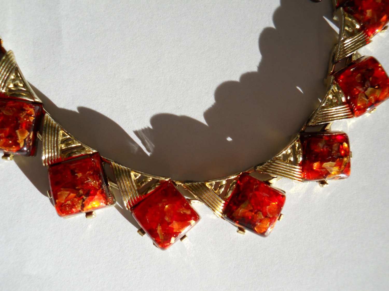 Coro Confetti Lucite Necklace Orange Gold Vintage Signed image 3