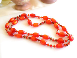 Vintage Orange Beaded Double Strand Necklace Moonglow Lucite and Faceted Beads S image 4