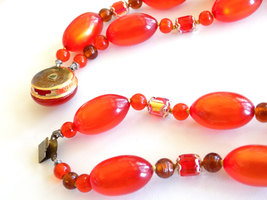 Vintage Orange Beaded Double Strand Necklace Moonglow Lucite and Faceted Beads S image 5