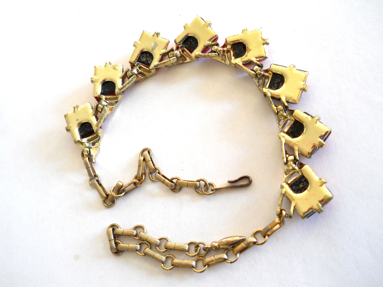 Coro Confetti Lucite Necklace Orange Gold Vintage Signed image 5