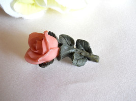 Pink Resin Rose Flower Brooch With Green Leaves Pin Vintage - $8.00