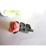 Pink Resin Rose Flower Brooch With Green Leaves Pin Vintage - $8.00