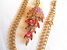 Pink Rhinestone Waterfall Style Pendant Necklace Vintage - $35.00