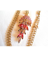 Pink Rhinestone Waterfall Style Pendant Necklace Vintage - $35.00