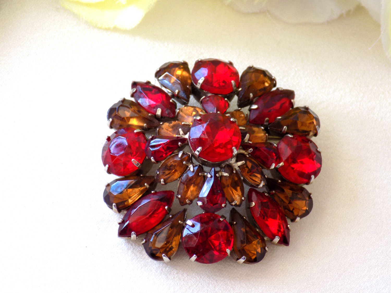 Vintage Brooch Red and Topaz Rhinestones Domed Style Brooch