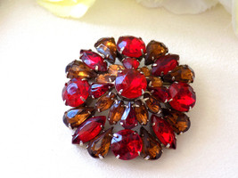 Vintage Brooch Red and Topaz Rhinestones Domed Style Brooch - $26.25