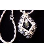 Vintage Rhinestone & Hematite Pendant Necklace Signed Lisa Silver Tone M... - $66.25