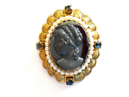 Hematite Cameo Brooch Pin Signed M Germany Faux Pearls Gold Filigree Vin... - $28.50