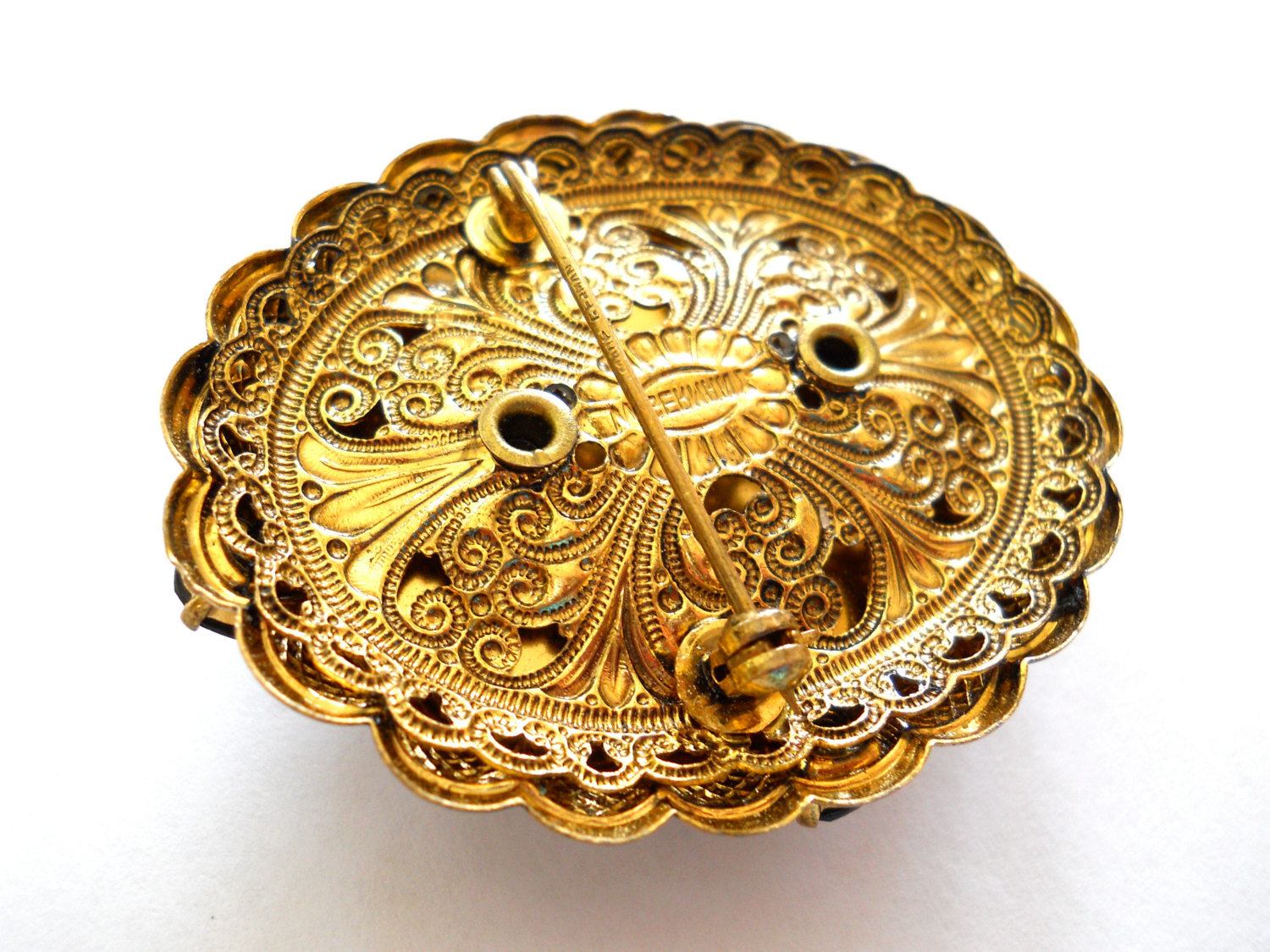 Hematite Cameo Brooch Pin Signed M Germany Faux Pearls Gold Filigree Vintage