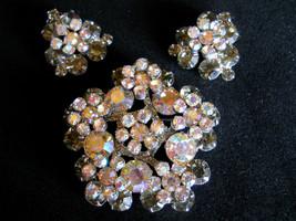 D&E Juliana Rhinestone Flower Brooch and Earring Set Book Piece Vintage - $95.00