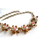 Pink, Green & White Necklace Five Flower Links Moonglow Cabochon Rhinest... - $34.50