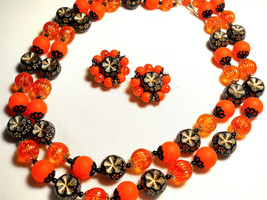 Orange, Black and Gold Necklace & Earring Set Flowered Beaded Double Str... - $45.00