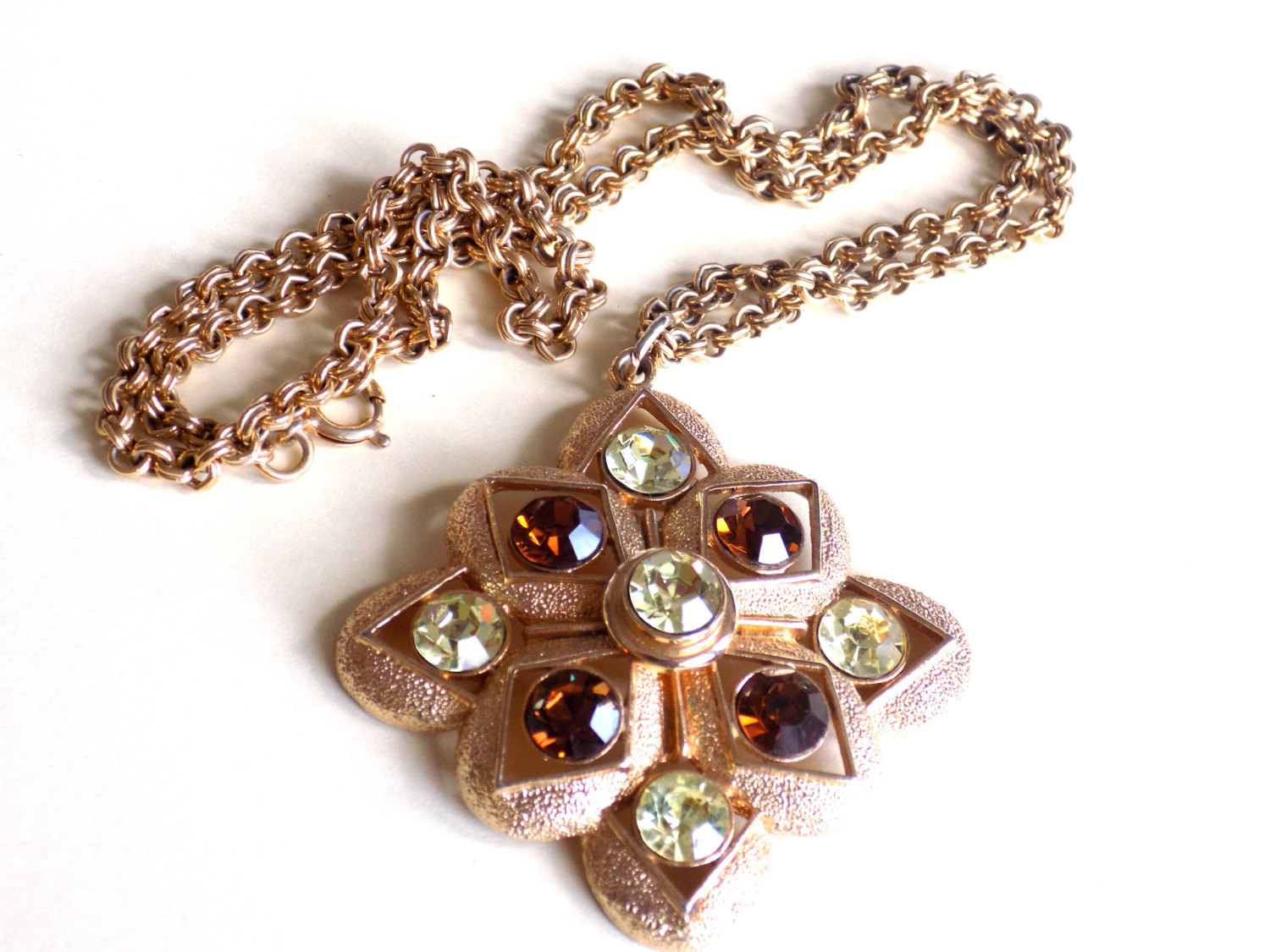 Vintage Sarah Coventry Starburst Necklace Topaz and Yellow Rhinestones Pendant S